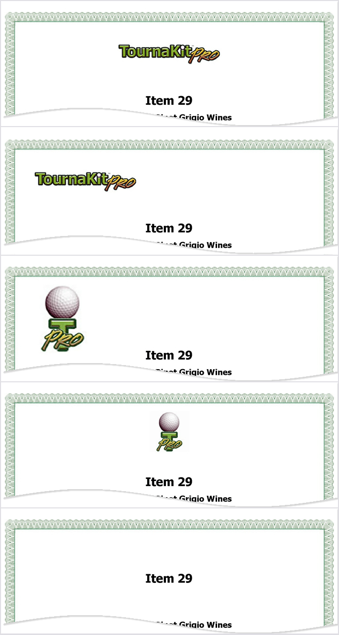 Auction Item Cover Sheet - Header Options