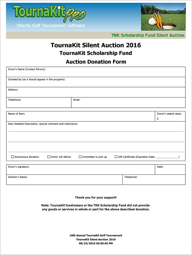 Charity auction forms images 108 silent auction bid for Golf tournament program template