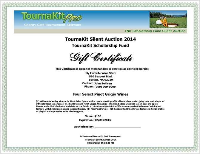 Auction Item Gift Certificate - Full Header
