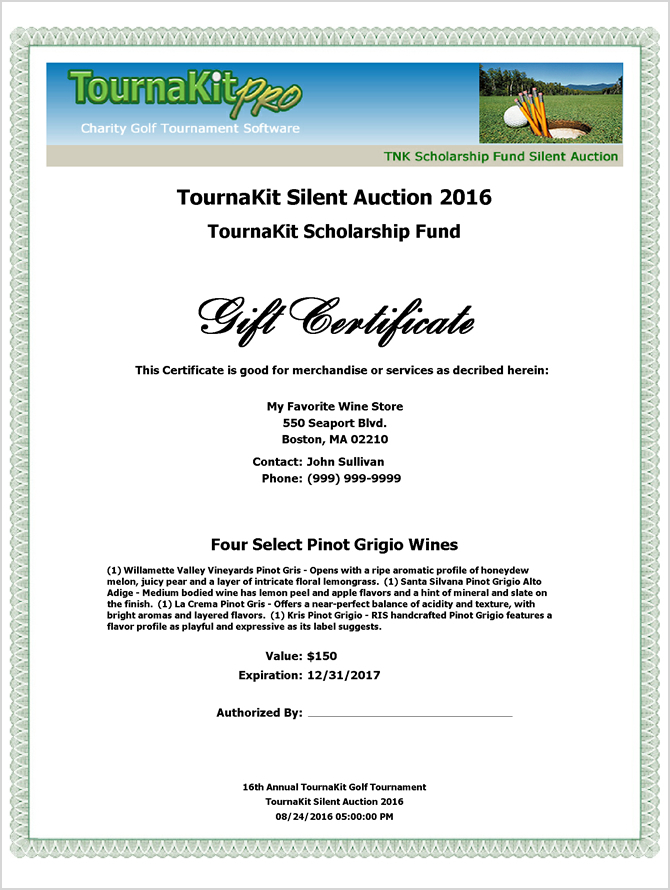 Auction Item Gift Certificate   Full Header  Certificate Of Donation Template