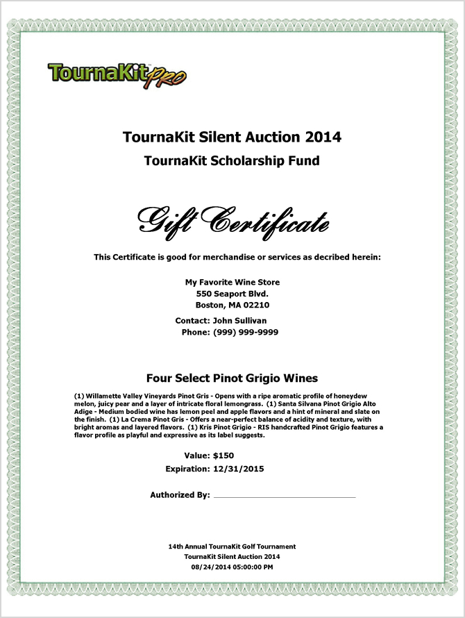 Auction Item Gift Certificate - Header Left