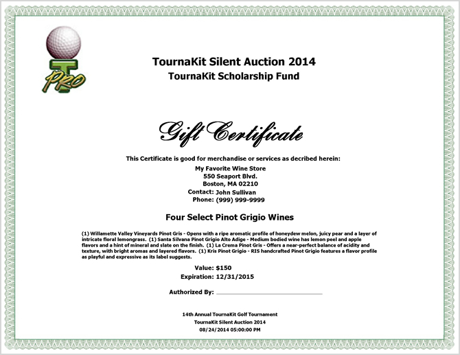 Auction Item Gift Certificate - Large Logo Left