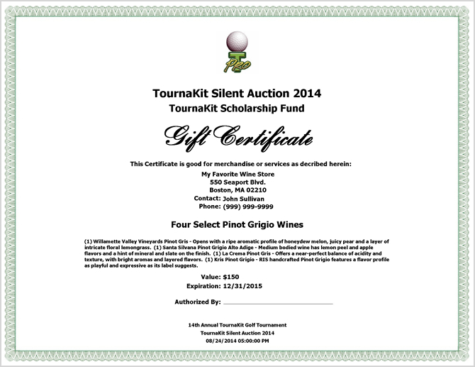 Auction Item Gift Certificate - Small Logo Centered
