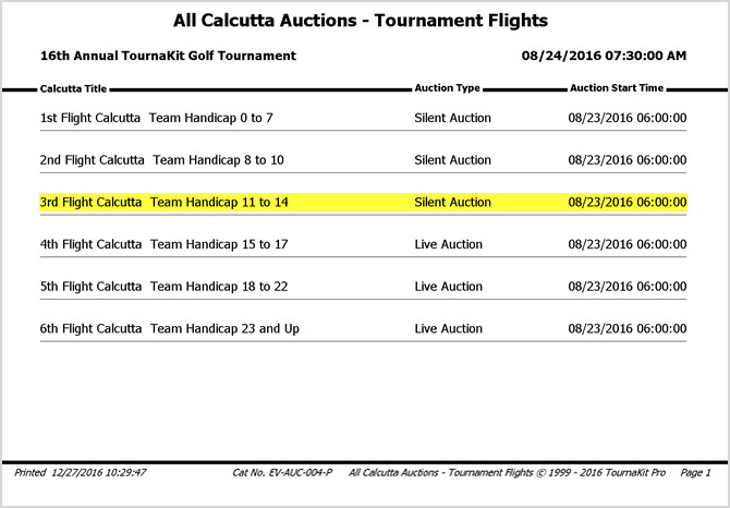 TournaKit Pro Create Calcutta Auction - Tournament Flights