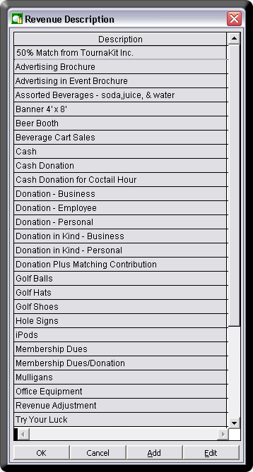 Charity Golf Tournament Software Revenue Type Description