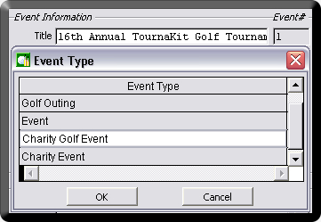 Event Type Dropdown - Charity Golf Event