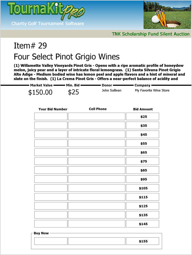 Charity Auction Item Software Integrated Charity Golf Software – Sample Silent Auction Bid Sheet