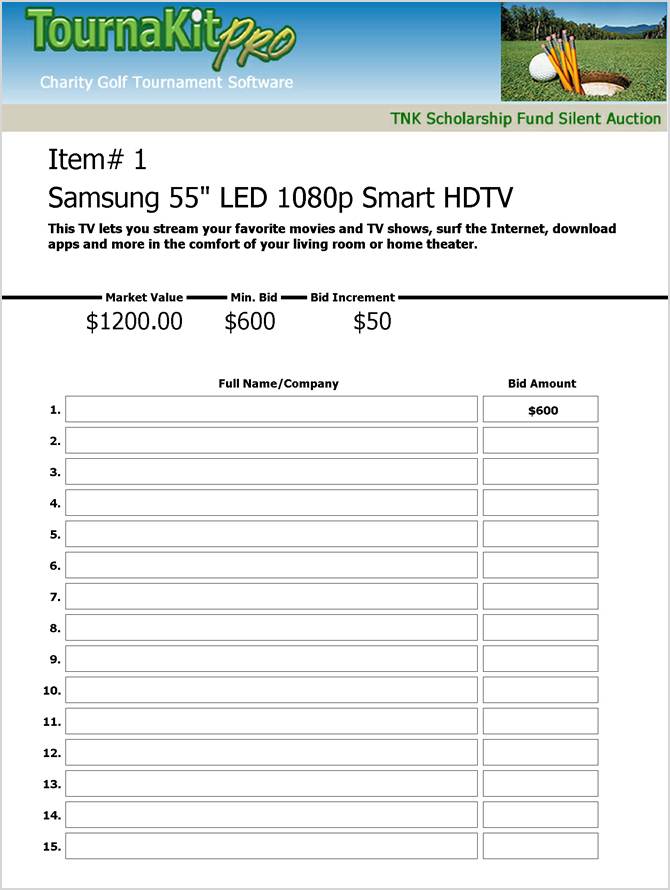 Charity Auction Forms Images   Silent Auction Bid Sheet Templates